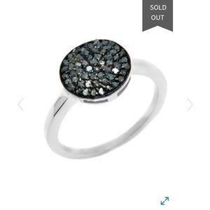 NWT SS Blue Diamond Pave Circle Ring